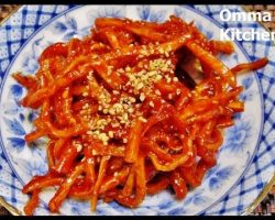 Sweet & Spicy Korean Dry Cuttlefish Side Dish (마른오징어채무침) by Omma's Kitchen