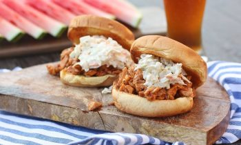 Beer Slow Cooked BBQ Pulled Pork with Spicy Slaw